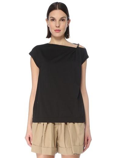 Brunello Cucinelli Brunello Cucinelli 101614172 Kayık Yaka Omuz Detaylı Taş Işlemeli   Kadın T-Shirt  Siyah